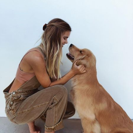 Amberleigh West with her pet dog, Shmello
