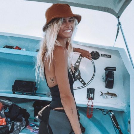 Amberleigh West in a boat in the picture