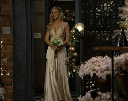 Sharon Case in a wedding gown