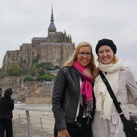 Joce with her friend travelling around the world,