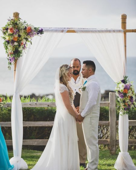 Martina Del Bonta on her Wedding day with her Husband Sal Rivera