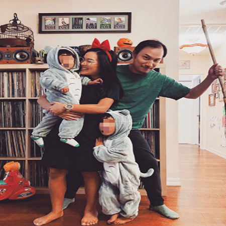 Ken's eldest son, Justin with his wife Ali Wong and kids