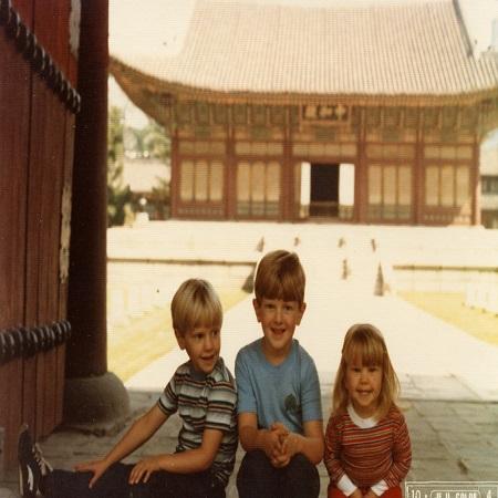 Ken with his siblings in South Korea