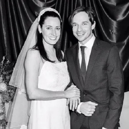 Paget with her husband Steve at their wedding,