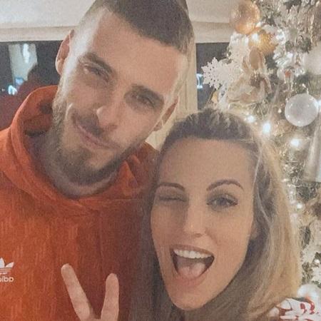 Endurne with her darling husband celebrating Christmas,