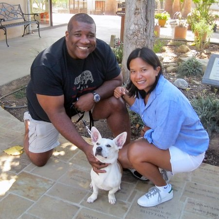 Curt with his wife Violette Doloricon Menefee and his pet,