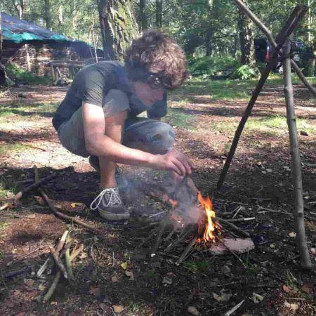Sam Taylor Buck on a camping trip