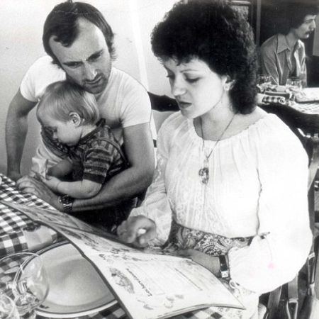Phil Collins Andrea Collins and their son Simon
