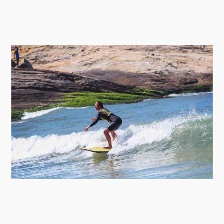 Rebecca surfing up at harpooner, source Instagram
