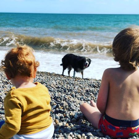 Asia and Ed's kids in Branscombe Beach Min, source Instagram