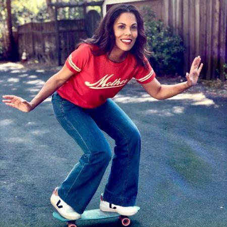 Aonika on a skate board