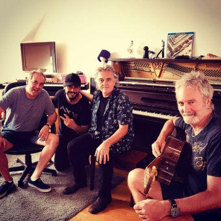 Nevio with three true songwriting legends at Studio Uno